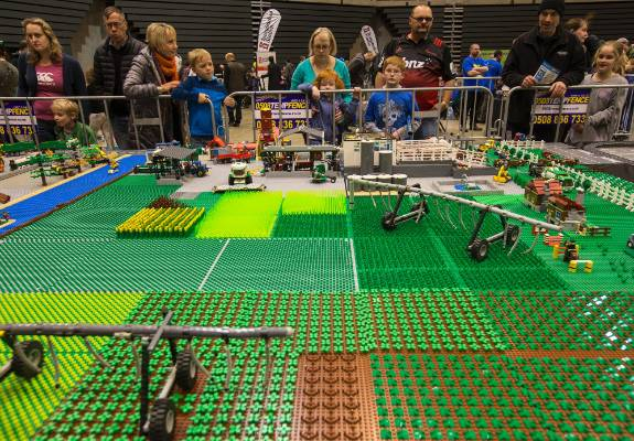 A farm complete with centre pivot irrigation and a rotating dairy shed was on show at The Christchurch Brick Show.