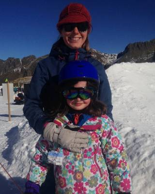 Blenheim woman Cath Lawson with her 7-year-old daughter, Cerys Lawson, about to head to the sledge area for a slide.