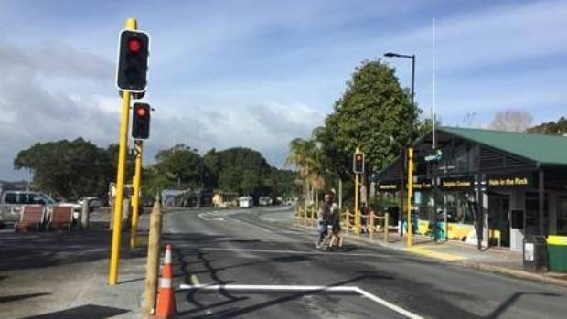 Paihia's traffic lights signal the end of traffic worries in the Northland, Bay of Islands, town.