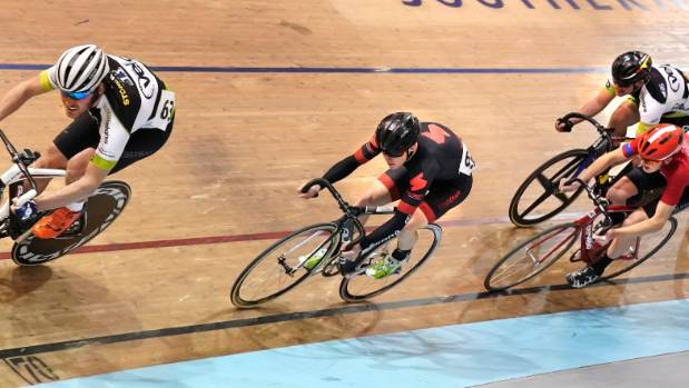 Joshua Haggerty on his way to winning the first of the elite and U19 men's keirin races during the Cycling Southland ...