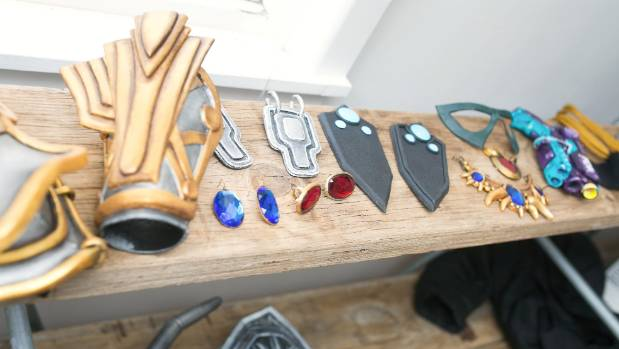 Some of the items being constructed in Worbla at Abby Jameson's cosplay workshop, held in Blenheim.