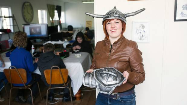 Abby Jameson wears a helmet made of 'Worbla'. Abby's love for creating has seen her emerge as an expert costume maker, ...