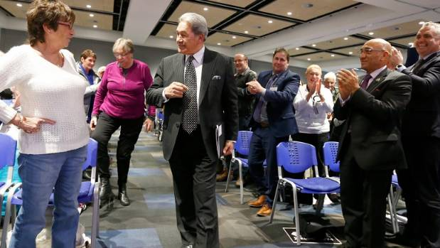 New Zealand First Leader Winston Peters arrives at the Vodafone Events Centre in Manukau.