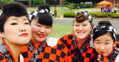 Amy Vivian-Neal, second from right, teaches at schools in Namie, Japan, which had 600 students before the 2011 Tohoku ...