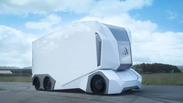 """Einride's driverless cargo truck """"T-Pod""""."""