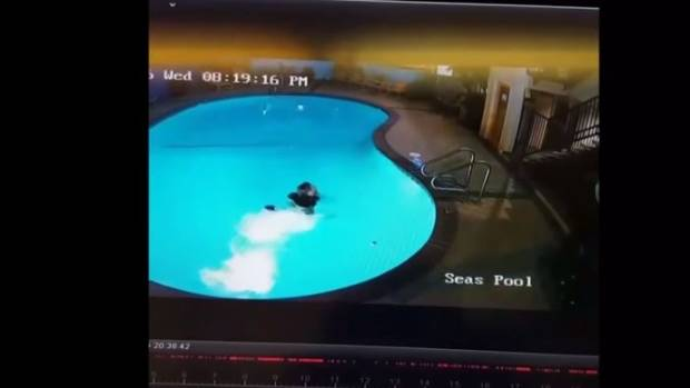 The video uploaded by 8Booth shows him surfacing in the pool after the jump went wrong and crawling out.