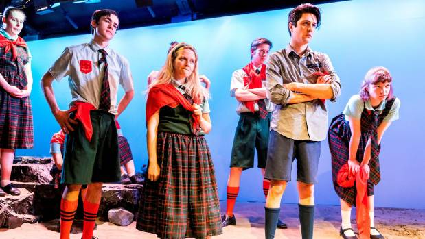 Ella Hope Higginson as Jack and Nathan Mudge as Roger confront Ralph and Piggy in the Centrepoint Theatre production of ...