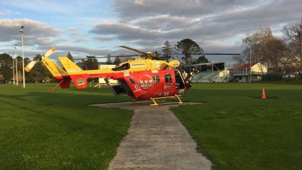 The man was flown to Waikato Hospital in a serious condition.