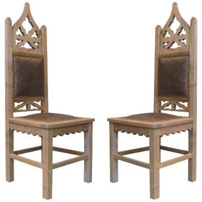 Take a seat in either of these grand gothic-style chairs and feel one step closer to the Iron Throne.  Pair of Tall ...