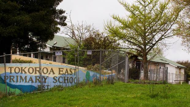 The forlorn sight of the old entrance to Tokoroa East School.