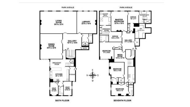 Floorplan for 740 Park Avenue.