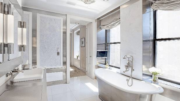 The master suite overlooks Park Avenue and comes complete with two marble bathrooms, two dressing rooms, and two offices.