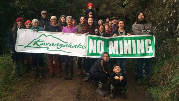 Protesters with Project Karangahake have obstructed the road to a mine site at Mt Karangahake on Monday morning.