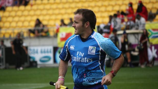 Tim Baker patrols a tryline during the Wellington Sevens.