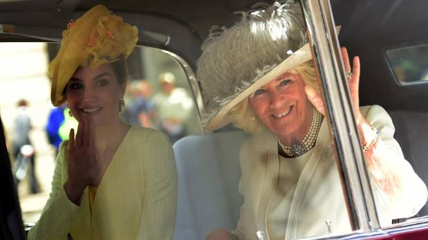 Camilla with Spain's Queen Letizia.