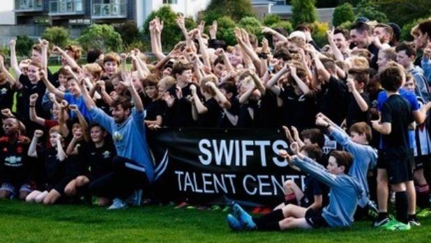 Players and coaches of the Swifts Talent Centre at Waterside Karori AFC.