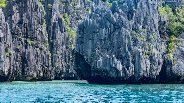 The sheer karst cliffs of the Big Lagoon