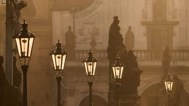 Street lamps on Charles Bridge, Prague.