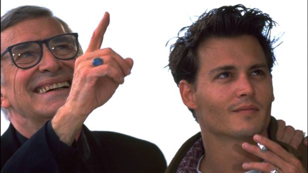 Landau and Ed Wood star Johnny Depp during a press call for the film at Cannes in 1994.