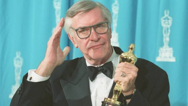 Martin Landau holds his Oscar at the 1995 Academy Awards ceremony in Los Angeles. Landau won the Best Supporting Actor ...