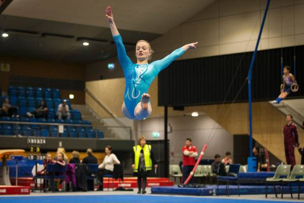 Ella Price of Twisters Tawa Gymnastics Club on the floor during Sunday's Top of the South Gymnastics Competition held at ...