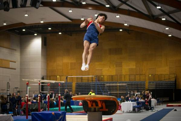 William Fu-Allen of Gymnastics Nelson on the vault during Sunday's Top of the South Gymnastics Competition held at ...
