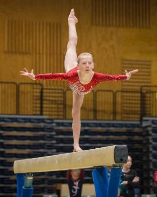 Cleo Pearce of Christchurch School of Gymnastics on the beam during Sunday's Top of the South Gymnastics Competition ...