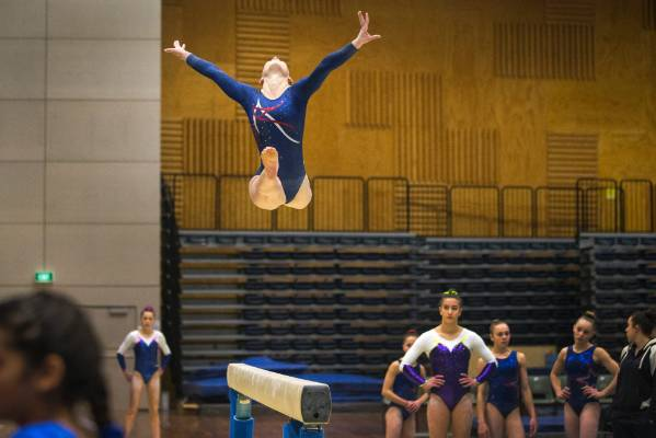 Ella Nichols of Gymnastics Nelson on the beam during Sunday's Top of the South Gymnastics Competition held at Trafalgar ...