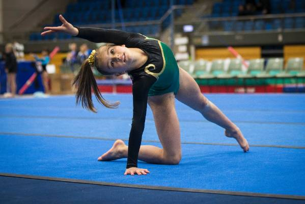 Rosa Blair of Hutt Valley Gymnastics on the floor during Sunday's Top of the South Gymnastics Competition held at ...