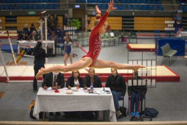 Christchurch School of Gymnastics gymnast on the beam during Sunday's Top of the South Gymnastics Competition held at ...