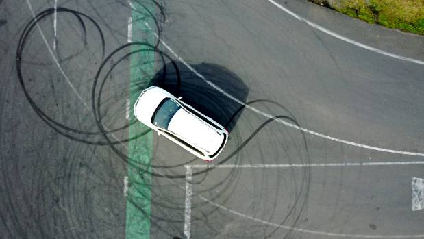 An aerial view of the skid marks on the intersection of Onion Road and Holmes Road in Horotiu.