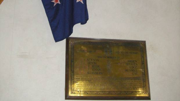 The memorial in St Andrew's Church, overhung by the New Zealand flag which was donated by the New Zealand Government.