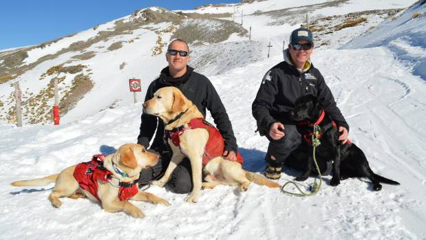 Mt Hutt skifield fleet maintenance co-ordinator Rob Teasdale (left) with snow safety officer Ronan Maguire and their ...
