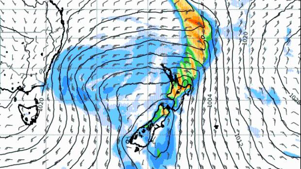 A rain map for midnight on Thursday, July 20, from MetService, showing the weather system that's forecast to hit the country.