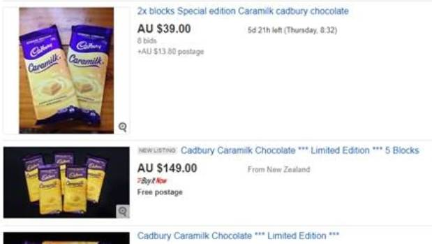 Cadbury Caramilk is cannot be bought in Australian supermarkets and is fetching top dollar on eBay.