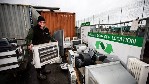 Steve Marsh from Bell Block gets rid of some e-waste at the Colson Rd Transfer Station.