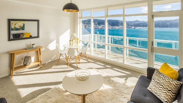 This 65 square-metre, two-bedroom apartment in the complex has expansive views of the harbour and city.
