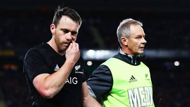 Ben Smith leaves the field for a concussion test during the first test against the British and Irish Lions at Eden Park.
