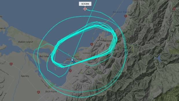 A Jetstar flight from Wellington circles Nelson due to fog at the airport.
