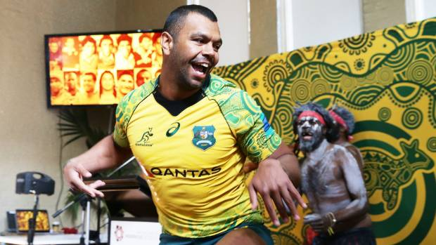 Kurtley Beale shows his dance moves at the launch of the Wallabies indigenous jersey.