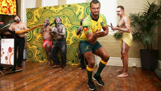 Kurtley Beale dances with indigenous performers during the Wallabies jersey launch at the National Centre of Indigenous ...