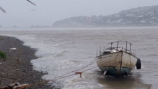 The unnamed boat ran aground after the huge storm which hit most of the country.