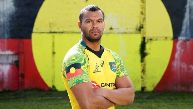 The green sleeves of the new jersey, as worn by Kurtley Beale.