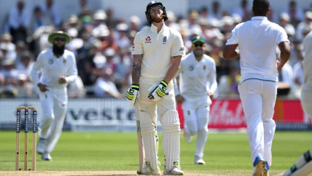 Ben Stokes reacts with disgust after being caught and bowled by Vernon Philander during England's second innings.