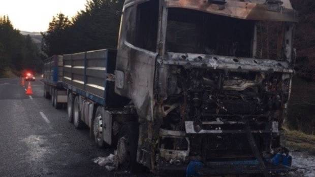 A southbound truck caught fire on State Highway 1 north of Dunedin on Tuesday morning. The driver was uninjured.