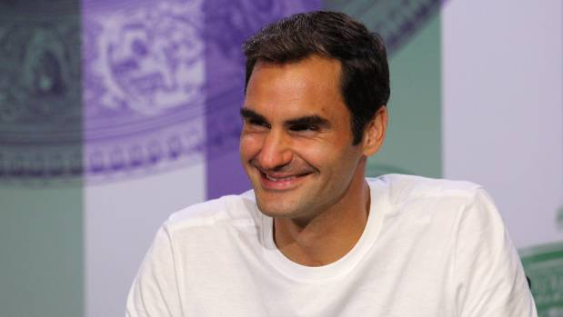Roger Federer was a touch worse for wear but in good spirits after celebrating his Wimbledon triumph until 5am.