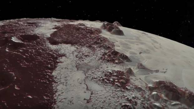 Pluto's terrain is icy and mountainous.