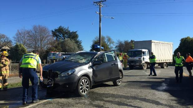 Emergency services attend the scene of a crash on Pugh Rd, Hope on Tuesday morning