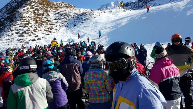 A line for Greengates chairlift at Coronet Peak on Tuesday morning.