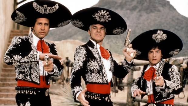 Chevy Chase, Steve Martin and Martin Short in Three Amigos.